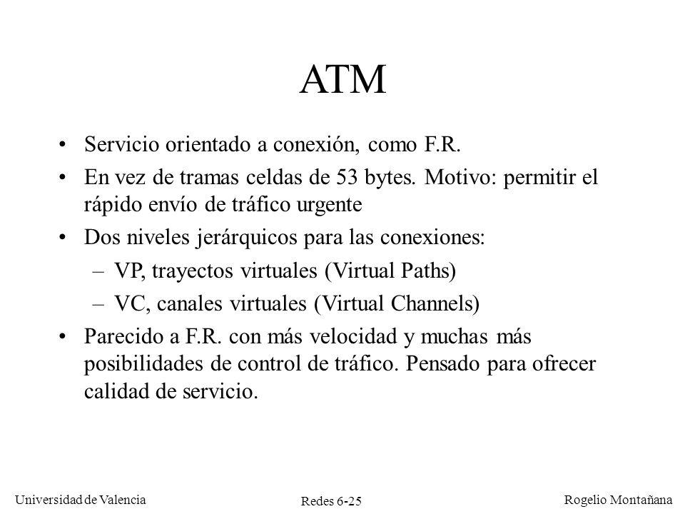 Redes 6-25 Universidad de Valencia Rogelio Montañana ATM Servicio orientado a conexión, como F.R. En vez de tramas celdas de 53 bytes. Motivo: permiti