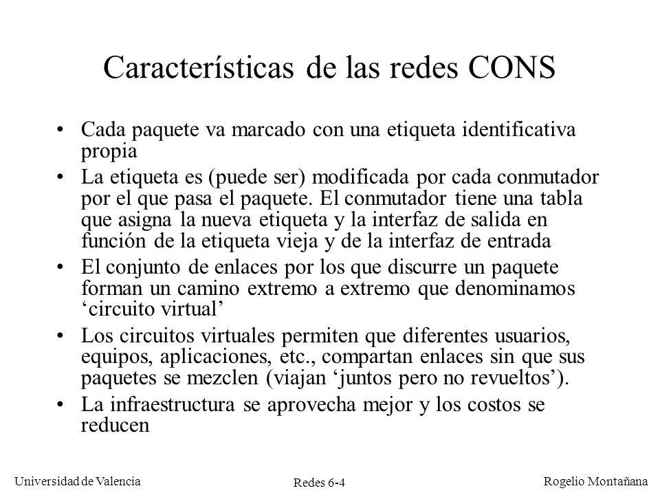 Redes 6-45 Universidad de Valencia Rogelio Montañana Servicio ABR (Available Bit Rate) CBR VBR CBRABR La realimentación de la red evita la congestión y la pérdida de celdas Tráfico ABR elástico con garantías ABR rellena los huecos de VBR de forma flexible como UBR, pero: Ofrece un caudal mínimo garantizado MCR (Minimum Cell Rate) La tasa de pérdidas se mantiene baja gracias a la realimentación sobre el grado de congestión en la red Las aplicaciones funcionan mejor al reducirse la pérdida de celdas (PCR, MCR, CLR) Capacidad del enlace