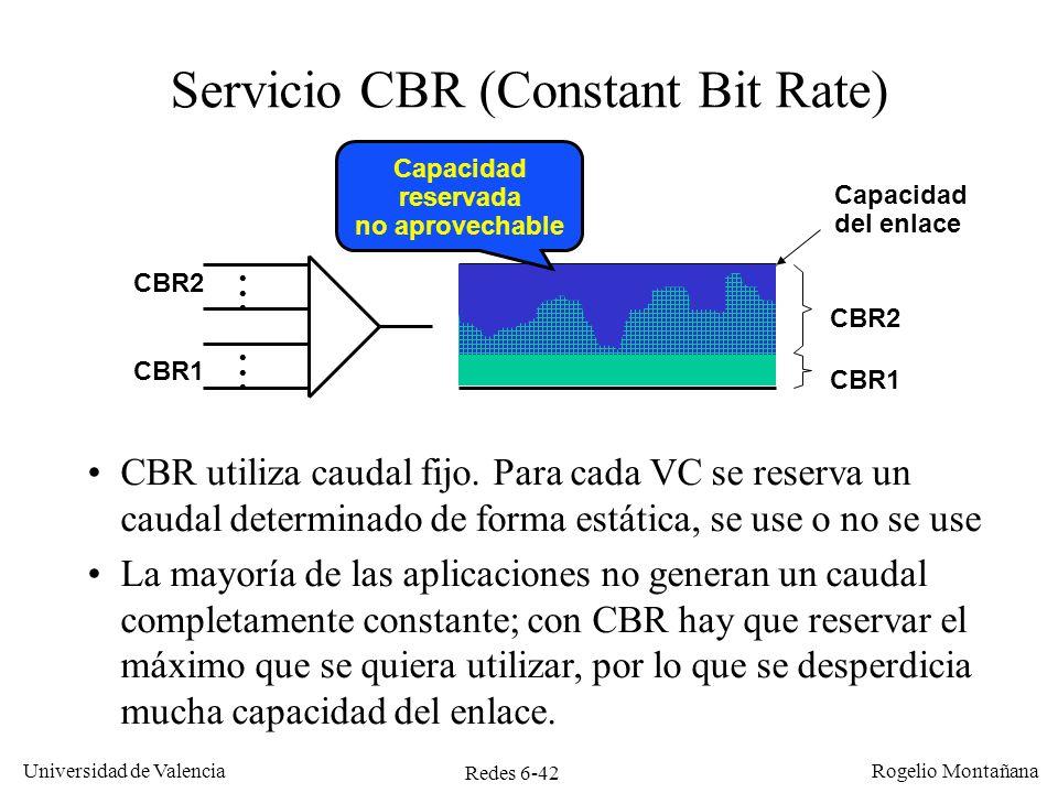 Redes 6-42 Universidad de Valencia Rogelio Montañana Servicio CBR (Constant Bit Rate) CBR utiliza caudal fijo. Para cada VC se reserva un caudal deter