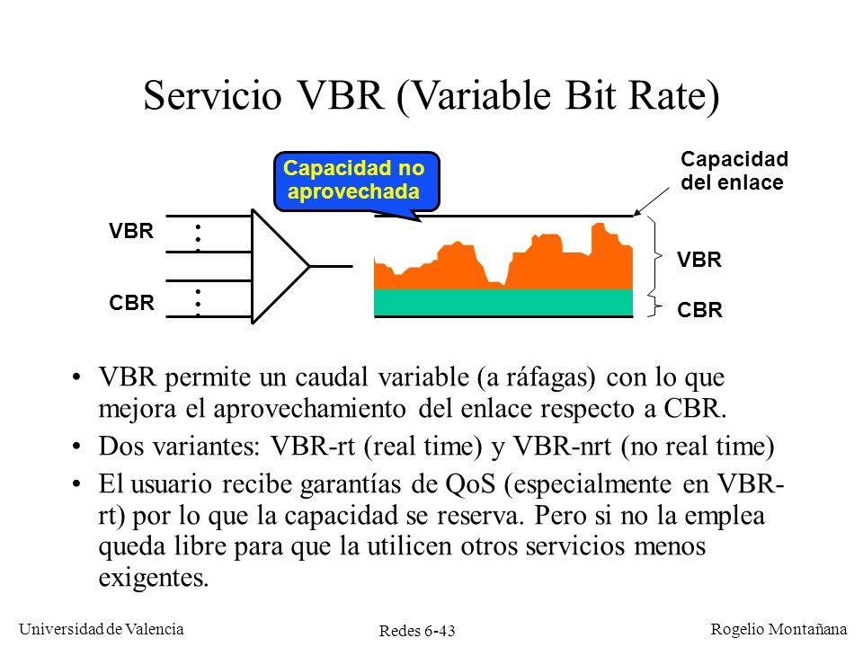 Redes 6-43 Universidad de Valencia Rogelio Montañana Servicio VBR (Variable Bit Rate) VBR permite un caudal variable (a ráfagas) con lo que mejora el