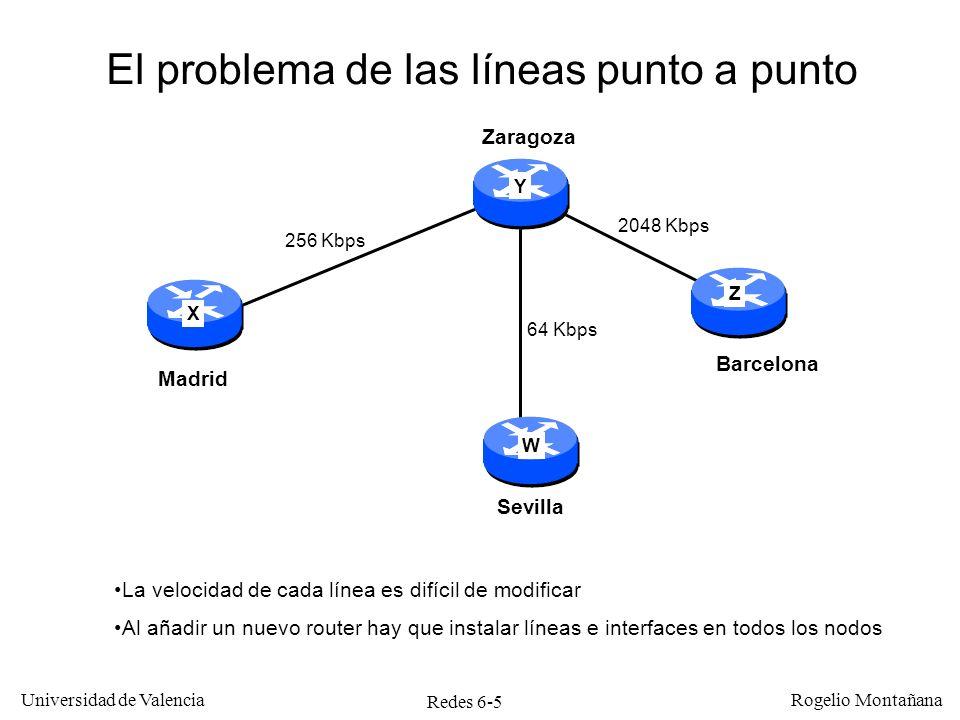 Redes 6-26 Universidad de Valencia Rogelio Montañana Trayectos Virtuales y Canales Virtuales Enlace físico Cada VP Contiene Múltiples VCs Por un enlace físico pueden pasar múltiples VPs El VC es el camino lógico entre hosts en la red ATM E1 (2 Mb/s) E3 (34 Mb/s) STM-1 u OC-3c (155 Mb/s) STM-4 u OC-12c (622 Mb/s) Virtual Path (VP) VPI/VCI Identificador de la Conexión : VPI/VCI