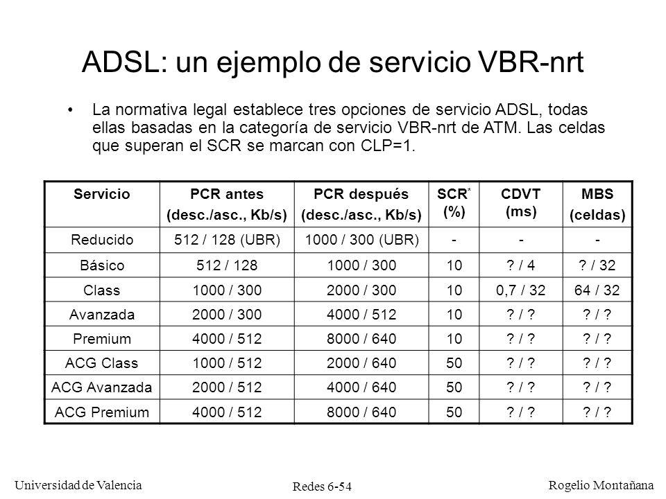 Redes 6-54 Universidad de Valencia Rogelio Montañana ADSL: un ejemplo de servicio VBR-nrt La normativa legal establece tres opciones de servicio ADSL,