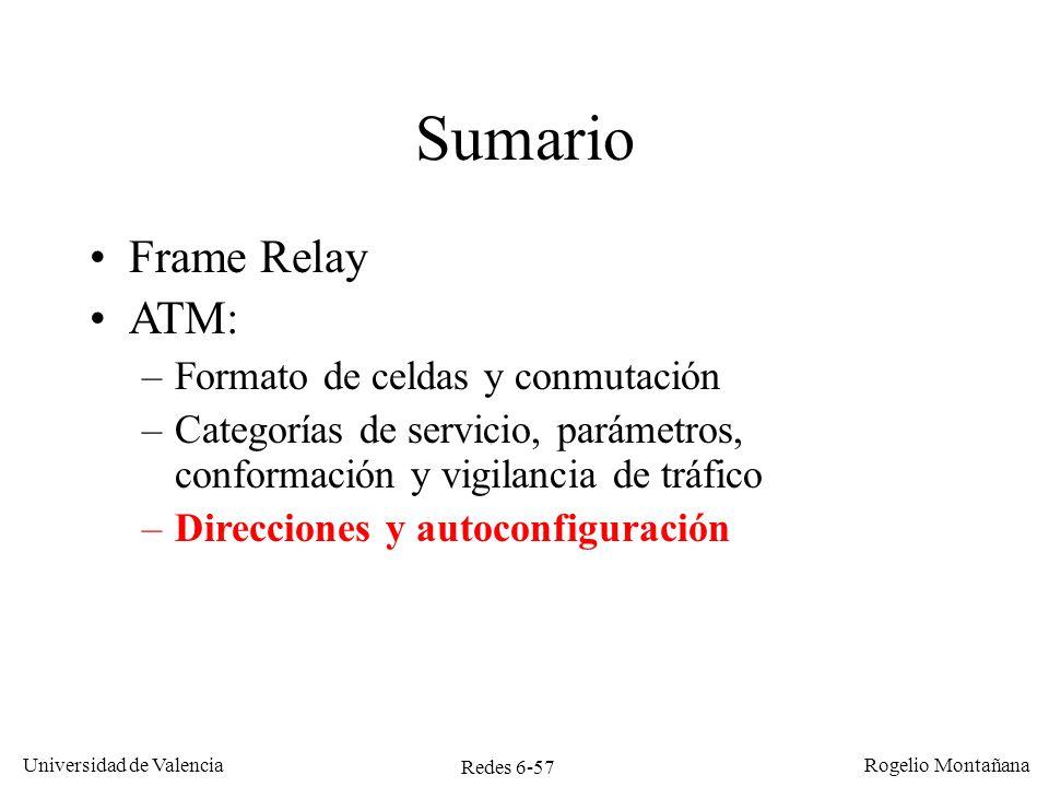 Redes 6-57 Universidad de Valencia Rogelio Montañana Sumario Frame Relay ATM: –Formato de celdas y conmutación –Categorías de servicio, parámetros, co