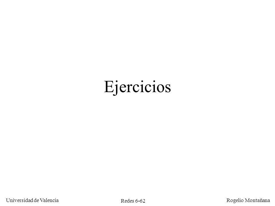Redes 6-62 Universidad de Valencia Rogelio Montañana Ejercicios