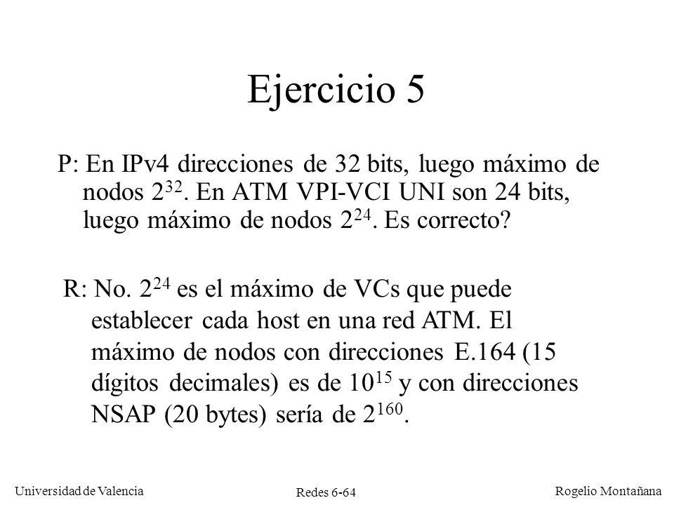 Redes 6-64 Universidad de Valencia Rogelio Montañana Ejercicio 5 P: En IPv4 direcciones de 32 bits, luego máximo de nodos 2 32. En ATM VPI-VCI UNI son