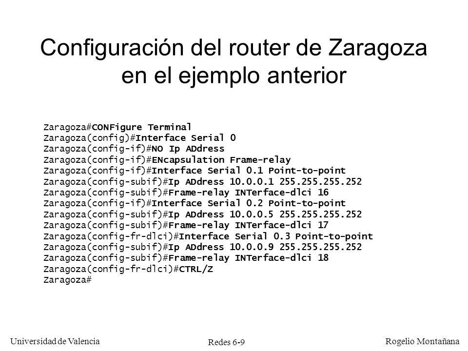 Redes 6-20 Universidad de Valencia Rogelio Montañana Ráfaga de 40 tramas precedida y seguida de un segundo sin tráfico Tramas recibidas = t * 2.048.000 / 51.200 = t * 40 Al cabo de un segundo: 40 tramas recibidas Tramas enviadas en tiempo t= (t-0,025)*1.024.000/51.200 = (t-0,025)*20 Para t=1segundo: (1-0,025)*20 = 19,5 = 19 tramas Capacidad pozal: 1.024.000/51.200 = 20 tramas Desbordan B c = recibidas - enviadas – pozal = 40 – 19 – 20 = 1 Al final de la ráfaga se han enviado 19 tramas y hay 20 en el pozal.