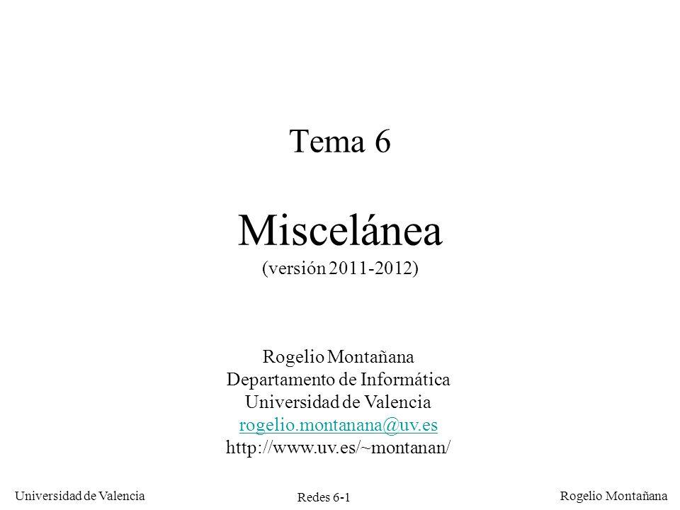 Redes 6-1 Universidad de Valencia Rogelio Montañana Tema 6 Miscelánea (versión 2011-2012) Rogelio Montañana Departamento de Informática Universidad de