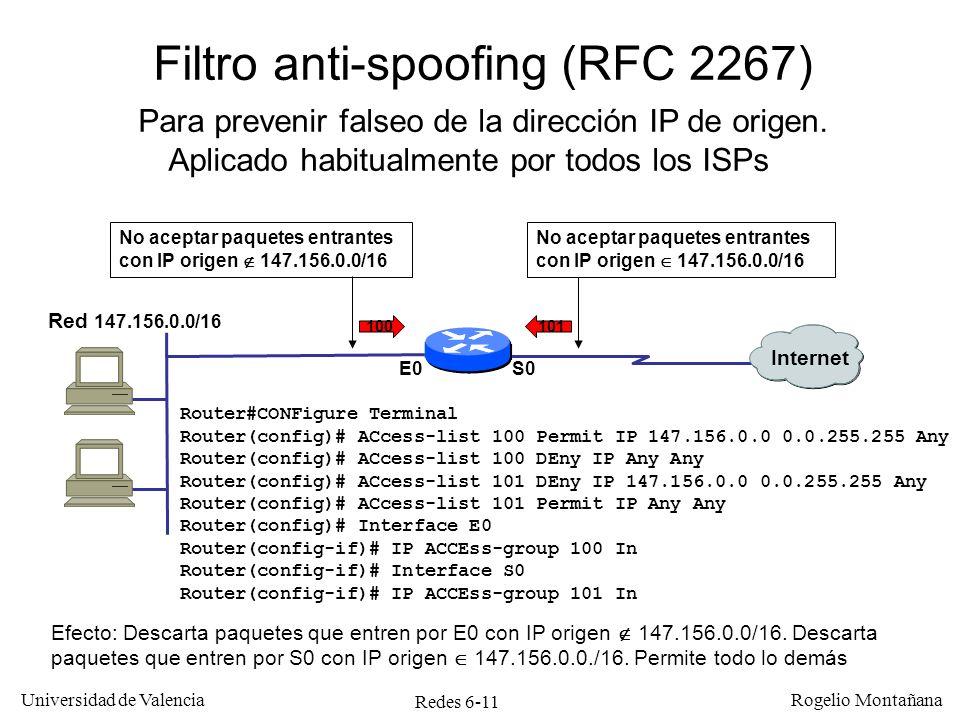 Redes 6-11 Universidad de Valencia Rogelio Montañana Filtro anti-spoofing (RFC 2267) Para prevenir falseo de la dirección IP de origen. Aplicado habit