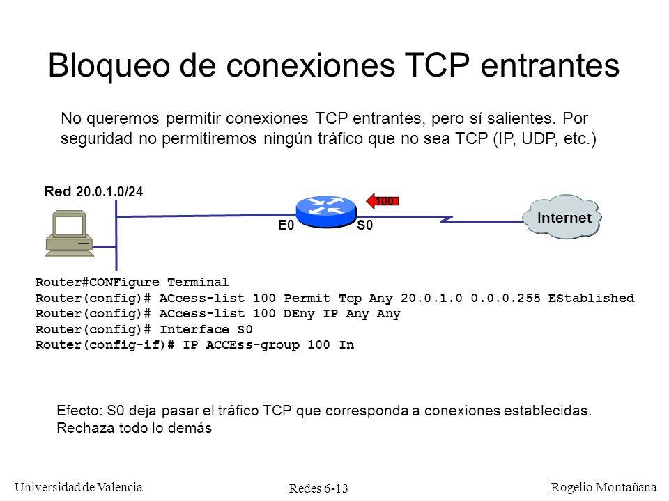 Redes 6-13 Universidad de Valencia Rogelio Montañana Bloqueo de conexiones TCP entrantes Internet Red 20.0.1.0/24 S0E0 Efecto: S0 deja pasar el tráfic