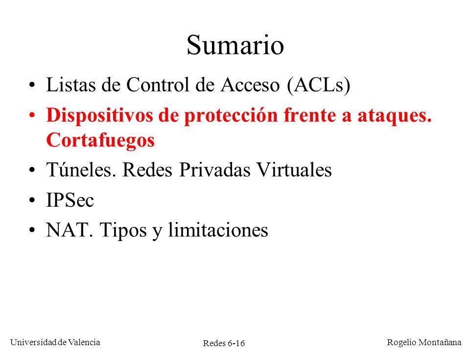 Redes 6-16 Universidad de Valencia Rogelio Montañana Sumario Listas de Control de Acceso (ACLs) Dispositivos de protección frente a ataques. Cortafueg