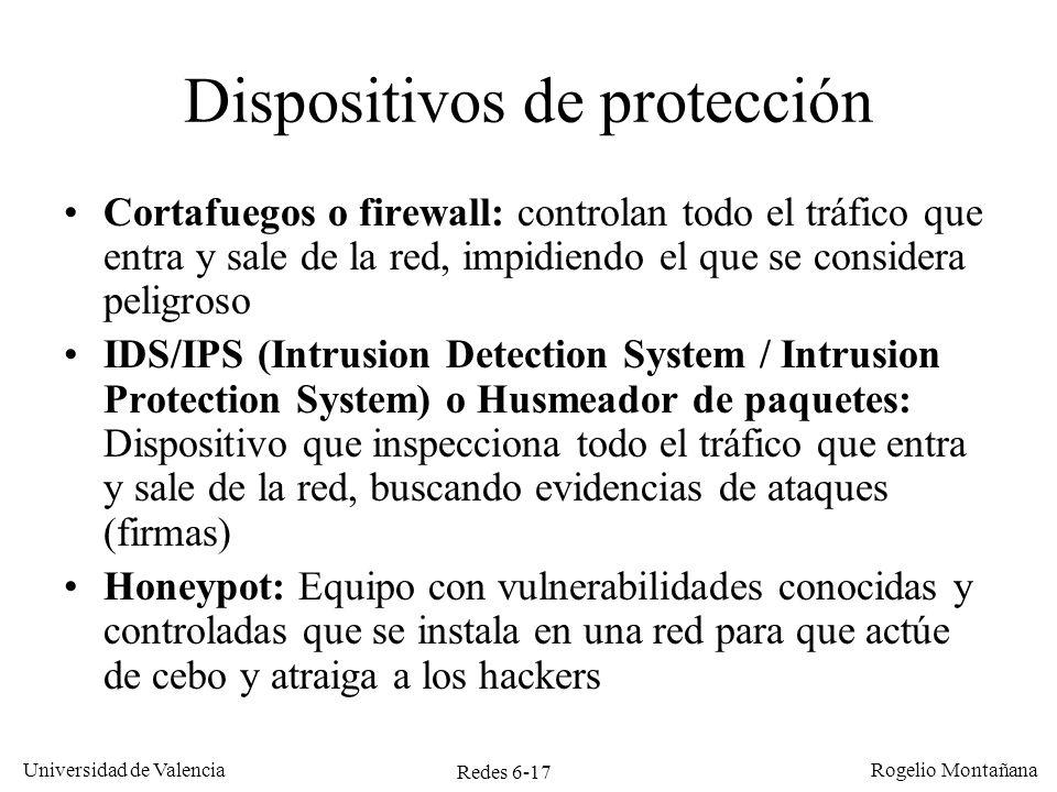 Redes 6-17 Universidad de Valencia Rogelio Montañana Dispositivos de protección Cortafuegos o firewall: controlan todo el tráfico que entra y sale de