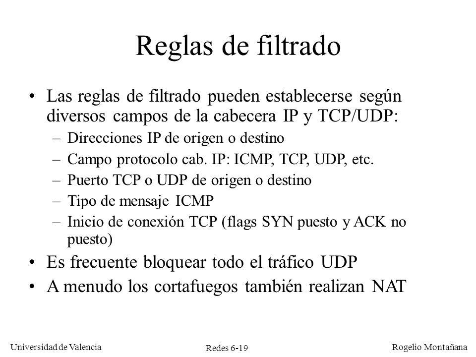 Redes 6-19 Universidad de Valencia Rogelio Montañana Reglas de filtrado Las reglas de filtrado pueden establecerse según diversos campos de la cabecer