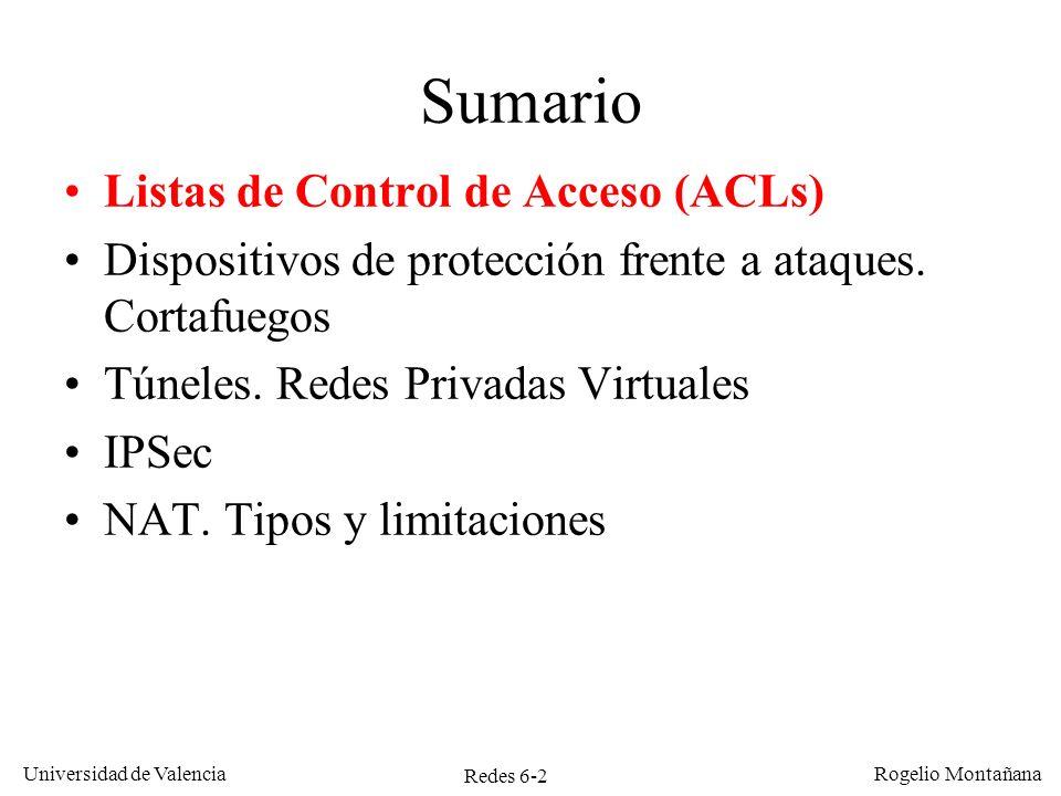 Redes 6-2 Universidad de Valencia Rogelio Montañana Sumario Listas de Control de Acceso (ACLs) Dispositivos de protección frente a ataques. Cortafuego