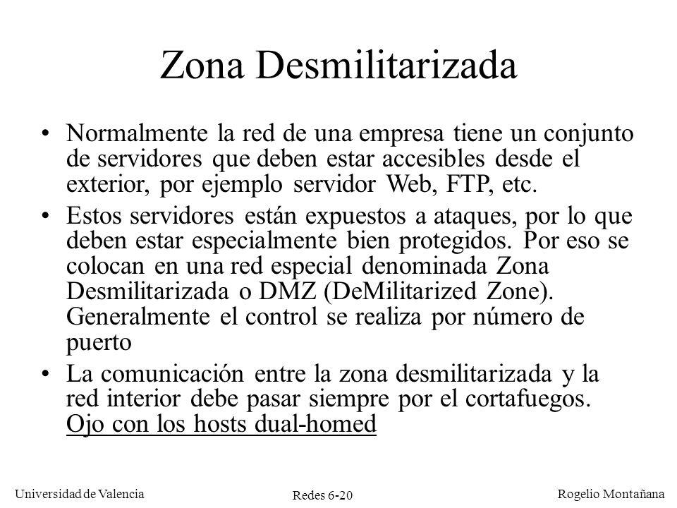 Redes 6-20 Universidad de Valencia Rogelio Montañana Zona Desmilitarizada Normalmente la red de una empresa tiene un conjunto de servidores que deben