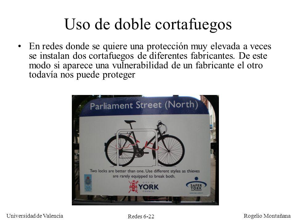 Redes 6-22 Universidad de Valencia Rogelio Montañana Uso de doble cortafuegos En redes donde se quiere una protección muy elevada a veces se instalan