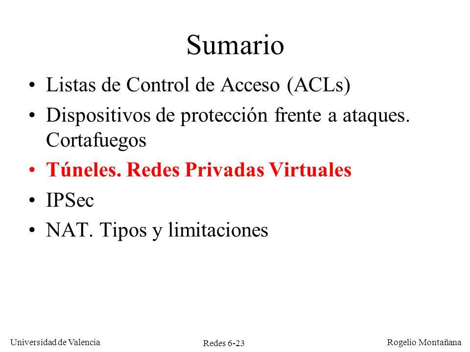 Redes 6-23 Universidad de Valencia Rogelio Montañana Sumario Listas de Control de Acceso (ACLs) Dispositivos de protección frente a ataques. Cortafueg