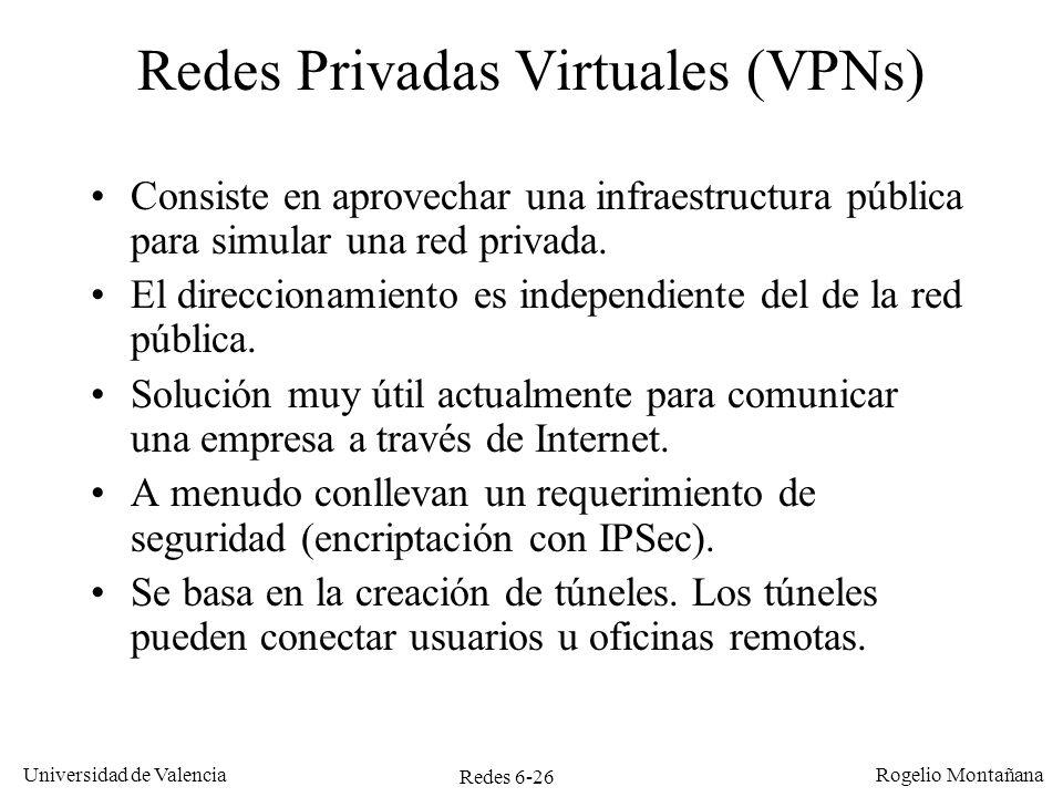 Redes 6-26 Universidad de Valencia Rogelio Montañana Redes Privadas Virtuales (VPNs) Consiste en aprovechar una infraestructura pública para simular u