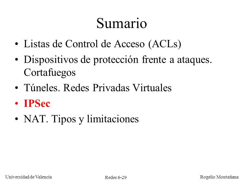 Redes 6-29 Universidad de Valencia Rogelio Montañana Sumario Listas de Control de Acceso (ACLs) Dispositivos de protección frente a ataques. Cortafueg
