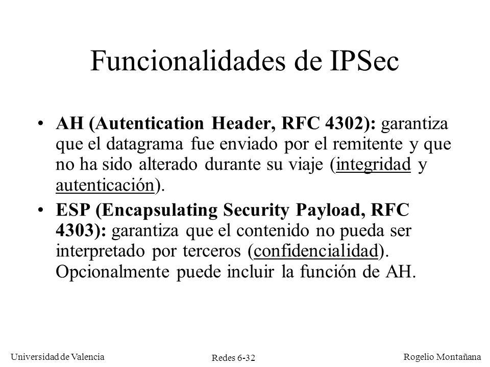 Redes 6-32 Universidad de Valencia Rogelio Montañana Funcionalidades de IPSec AH (Autentication Header, RFC 4302): garantiza que el datagrama fue envi