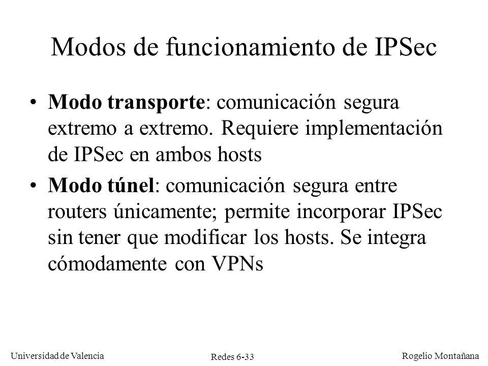 Redes 6-33 Universidad de Valencia Rogelio Montañana Modos de funcionamiento de IPSec Modo transporte: comunicación segura extremo a extremo. Requiere