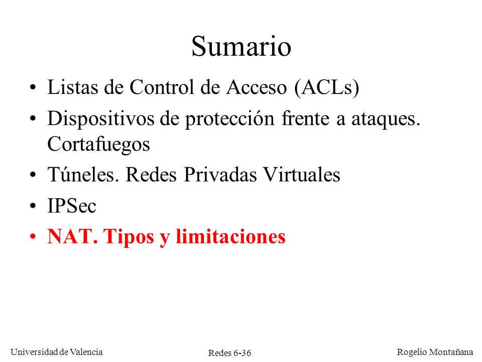 Redes 6-36 Universidad de Valencia Rogelio Montañana Sumario Listas de Control de Acceso (ACLs) Dispositivos de protección frente a ataques. Cortafueg