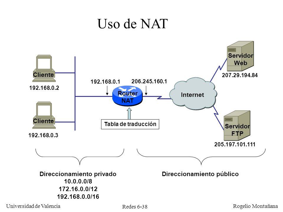Redes 6-38 Universidad de Valencia Rogelio Montañana Router NAT Internet Uso de NAT Direccionamiento públicoDireccionamiento privado 10.0.0.0/8 172.16
