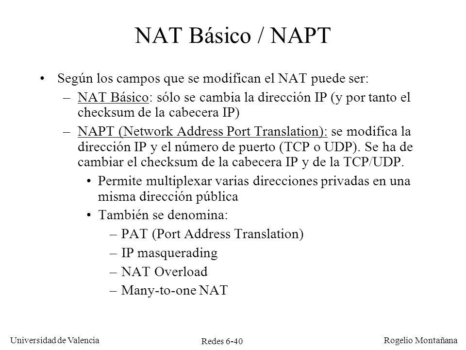 Redes 6-40 Universidad de Valencia Rogelio Montañana NAT Básico / NAPT Según los campos que se modifican el NAT puede ser: –NAT Básico: sólo se cambia