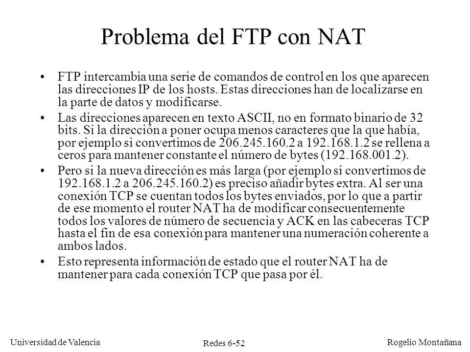 Redes 6-52 Universidad de Valencia Rogelio Montañana Problema del FTP con NAT FTP intercambia una serie de comandos de control en los que aparecen las
