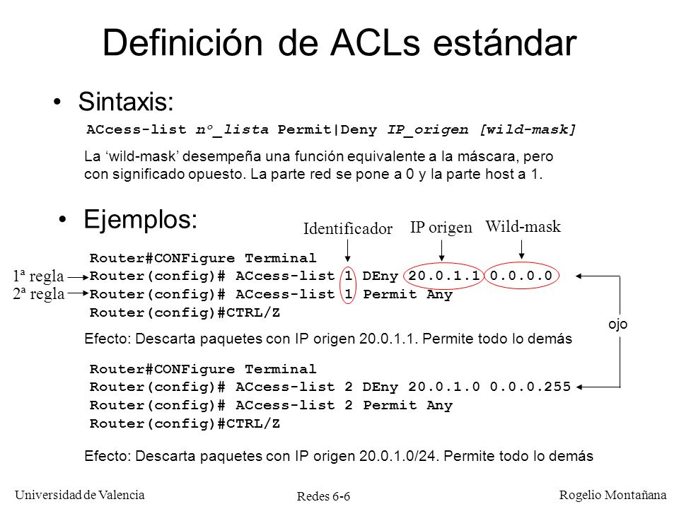 Redes 6-6 Universidad de Valencia Rogelio Montañana Definición de ACLs estándar Ejemplos: Router#CONFigure Terminal Router(config)# ACcess-list 1 DEny