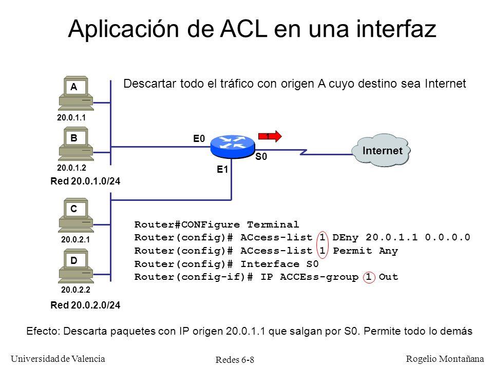 Redes 6-9 Universidad de Valencia Rogelio Montañana Definición de ACLs extendidas Ejemplos: Router#CONFigure Terminal Router(config)# ACcess-list 100 DEny IP 20.0.1.1 0.0.0.0 Any Router(config)# ACcess-list 100 Permit IP Any Any Router(config)#CTRL/Z Identificador 1ª regla 2ª regla Efecto: Descarta paquetes con IP origen 20.0.1.1.