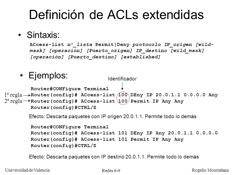 Redes 6-10 Universidad de Valencia Rogelio Montañana Aplicación de dos ACLs en una interfaz Internet Red 20.0.2.0/24 S0 E1 20.0.2.1 20.0.2.2 C D Red 20.0.1.0/24 20.0.1.1 20.0.1.2 A B E0 Router#CONFigure Terminal Router(config)# ACcess-list 100 DEny IP 20.0.1.1 0.0.0.0 Any Router(config)# ACcess-list 100 Permit IP Any Any Router(config)# ACcess-list 101 DEny IP Any 20.0.1.1 0.0.0.0 Router(config)# ACcess-list 101 Permit IP Any Any Router(config)# Interface S0 Router(config-if)# IP ACCEss-group 100 Out Router(config-if)# IP ACCEss-group 101 In Efecto: Descarta paquetes con IP origen 20.0.1.1 que salgan por S0 y paquetes con IP destino 20.0.1.1 que entren por S0.