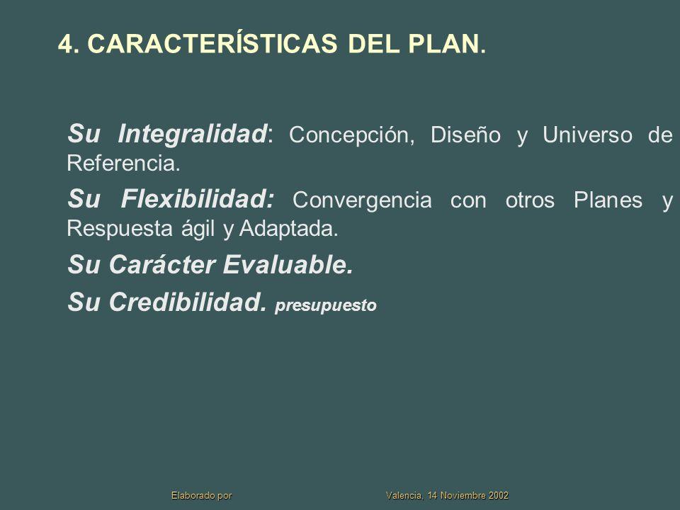 Elaborado por Valencia, 14 Noviembre 2002 4.CARACTERÍSTICAS DEL PLAN.