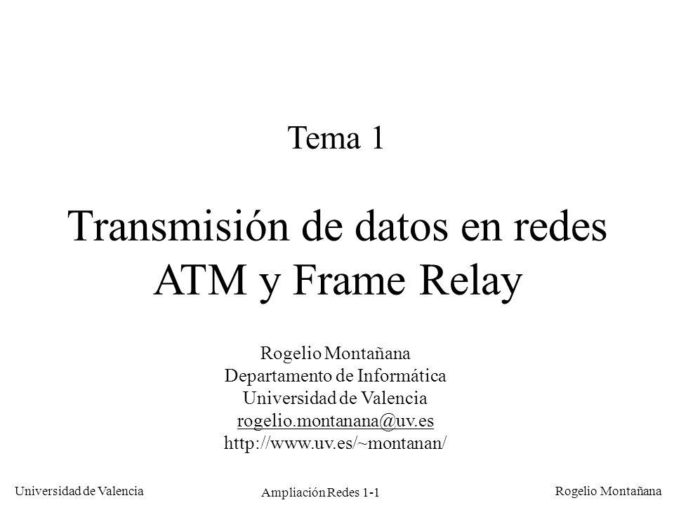 Ampliación Redes 1-1 Universidad de Valencia Rogelio Montañana Tema 1 Transmisión de datos en redes ATM y Frame Relay Rogelio Montañana Departamento d