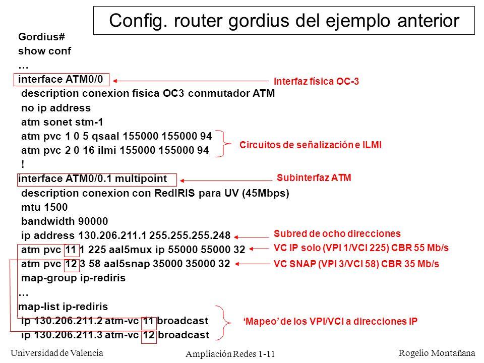 Ampliación Redes 1-11 Universidad de Valencia Rogelio Montañana Gordius# show conf … interface ATM0/0 description conexion fisica OC3 conmutador ATM n