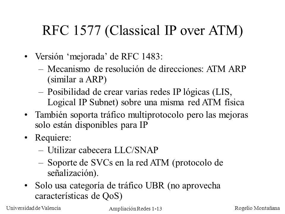 Ampliación Redes 1-13 Universidad de Valencia Rogelio Montañana RFC 1577 (Classical IP over ATM) Versión mejorada de RFC 1483: –Mecanismo de resolució