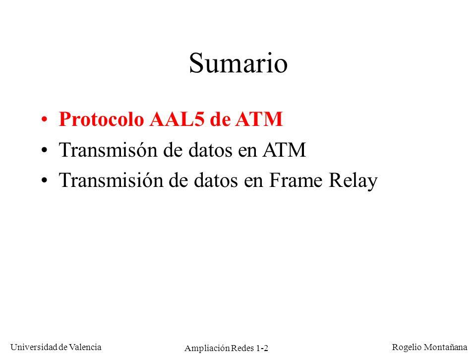 Ampliación Redes 1-2 Universidad de Valencia Rogelio Montañana Sumario Protocolo AAL5 de ATM Transmisón de datos en ATM Transmisión de datos en Frame
