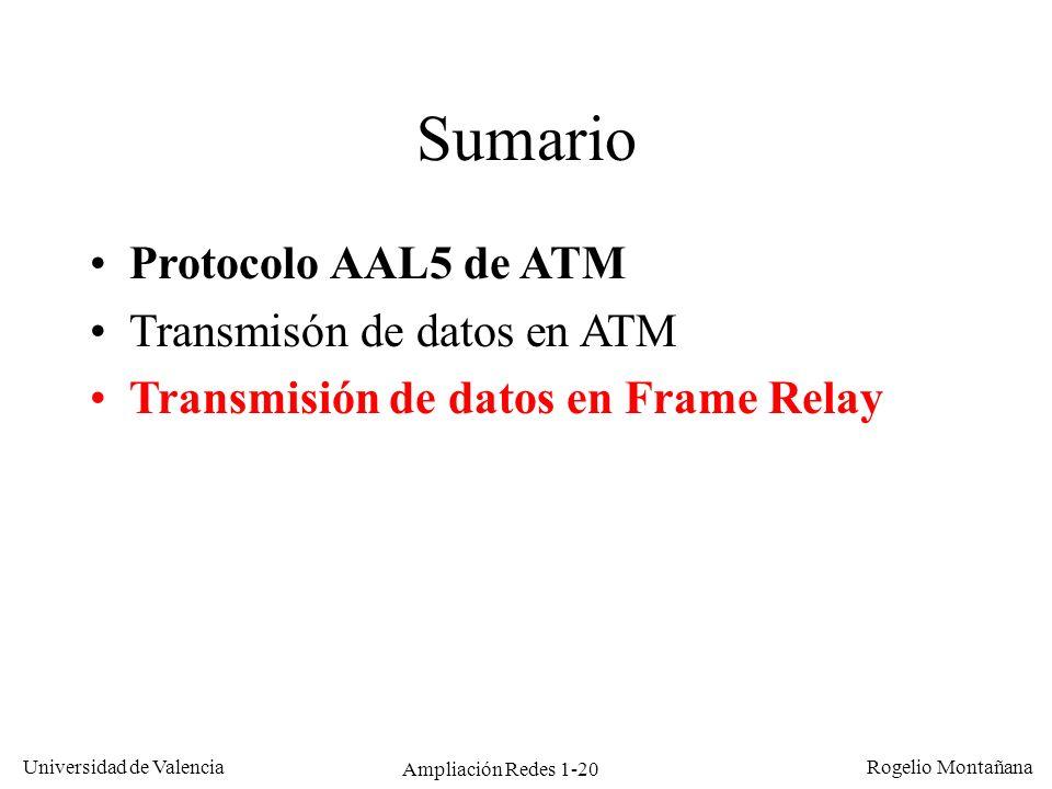 Ampliación Redes 1-20 Universidad de Valencia Rogelio Montañana Sumario Protocolo AAL5 de ATM Transmisón de datos en ATM Transmisión de datos en Frame