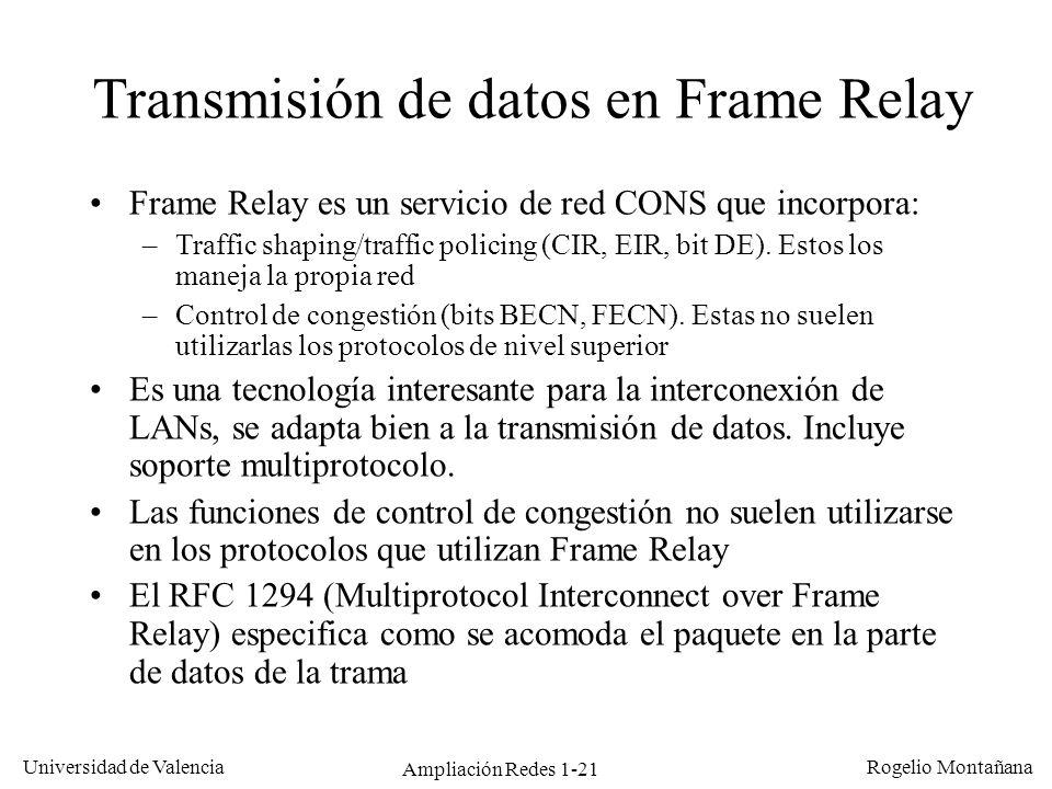 Ampliación Redes 1-21 Universidad de Valencia Rogelio Montañana Transmisión de datos en Frame Relay Frame Relay es un servicio de red CONS que incorpo