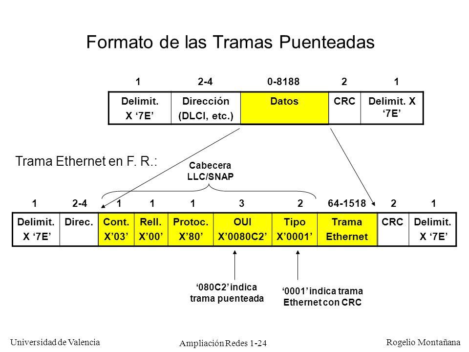 Ampliación Redes 1-24 Universidad de Valencia Rogelio Montañana Delimit. X 7E Direc.Cont. X03 Rell. X00 Protoc. X80 OUI X0080C2 Tipo X0001 Trama Ether