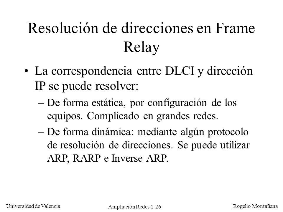 Ampliación Redes 1-26 Universidad de Valencia Rogelio Montañana Resolución de direcciones en Frame Relay La correspondencia entre DLCI y dirección IP