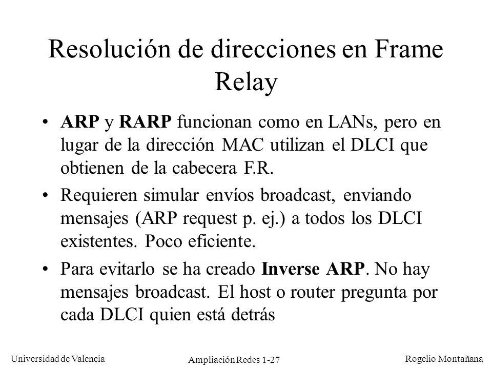 Ampliación Redes 1-27 Universidad de Valencia Rogelio Montañana Resolución de direcciones en Frame Relay ARP y RARP funcionan como en LANs, pero en lu