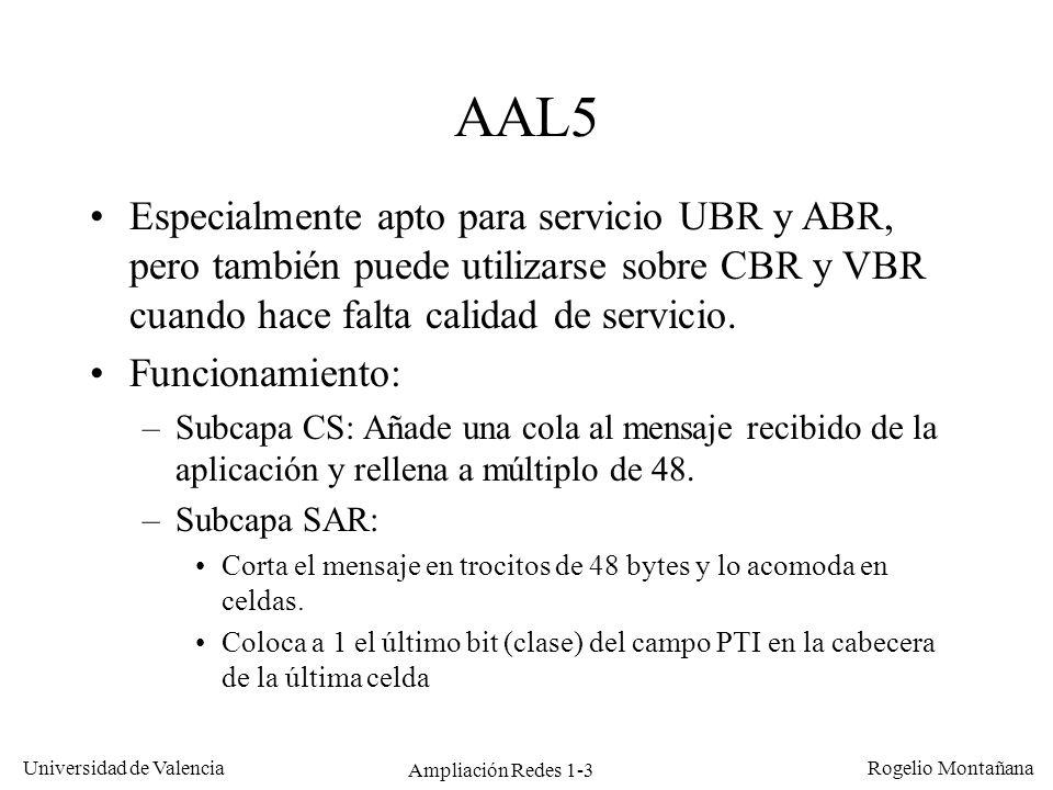 Ampliación Redes 1-3 Universidad de Valencia Rogelio Montañana AAL5 Especialmente apto para servicio UBR y ABR, pero también puede utilizarse sobre CB