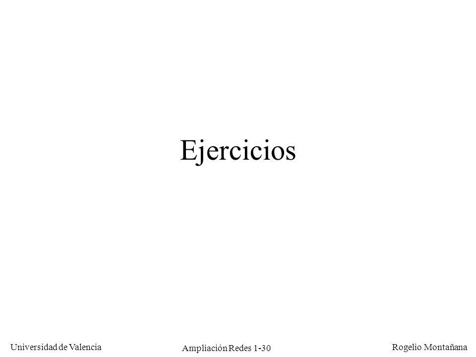 Ampliación Redes 1-30 Universidad de Valencia Rogelio Montañana Ejercicios