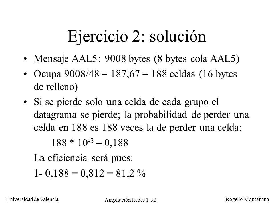 Ampliación Redes 1-32 Universidad de Valencia Rogelio Montañana Ejercicio 2: solución Mensaje AAL5: 9008 bytes (8 bytes cola AAL5) Ocupa 9008/48 = 187