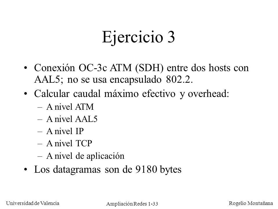 Ampliación Redes 1-33 Universidad de Valencia Rogelio Montañana Ejercicio 3 Conexión OC-3c ATM (SDH) entre dos hosts con AAL5; no se usa encapsulado 8