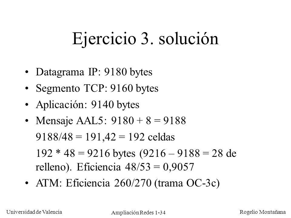 Ampliación Redes 1-34 Universidad de Valencia Rogelio Montañana Ejercicio 3. solución Datagrama IP: 9180 bytes Segmento TCP: 9160 bytes Aplicación: 91