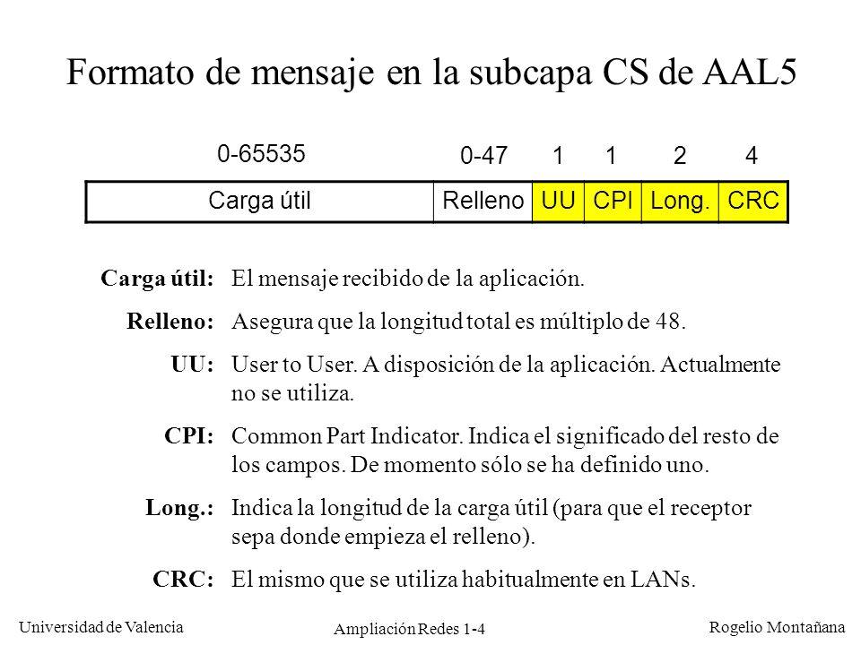Ampliación Redes 1-4 Universidad de Valencia Rogelio Montañana Carga útilRellenoUUCPILong.CRC Formato de mensaje en la subcapa CS de AAL5 0-65535 0-47