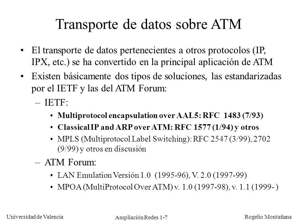Ampliación Redes 1-7 Universidad de Valencia Rogelio Montañana Transporte de datos sobre ATM El transporte de datos pertenecientes a otros protocolos