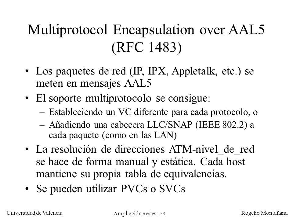Ampliación Redes 1-8 Universidad de Valencia Rogelio Montañana Multiprotocol Encapsulation over AAL5 (RFC 1483) Los paquetes de red (IP, IPX, Appletal
