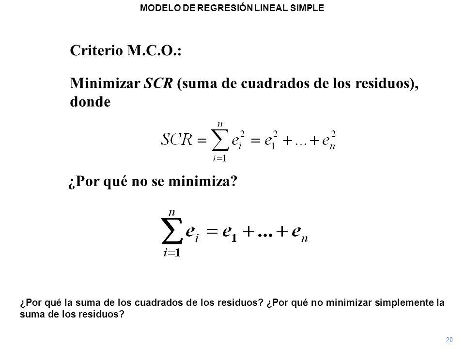 MODELO DE REGRESIÓN LINEAL SIMPLE ¿Por qué la suma de los cuadrados de los residuos? ¿Por qué no minimizar simplemente la suma de los residuos? Criter